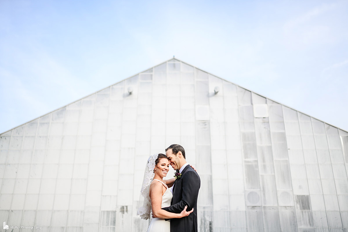 Bride and Groom portrait at the Horticulture Center