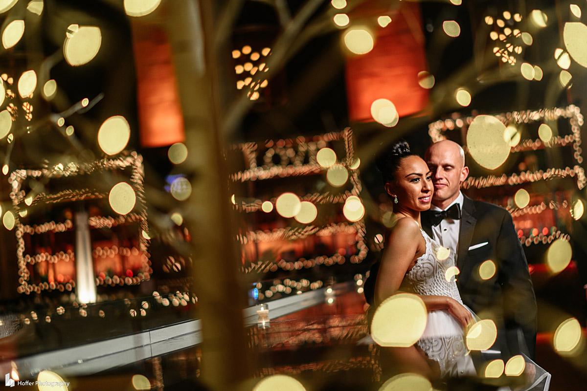Bride and Groom portrait inside Union Trust in Philadelphia